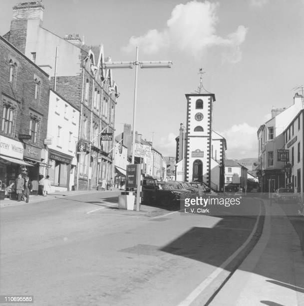 Market Street Keswick showing Moot Hall where weekly market is held June 1968