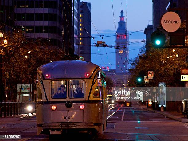 Market Street Railway Streetcar with Ferry Building in the Background.