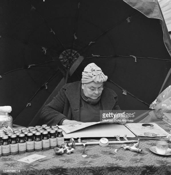 A market trader in Porte De Clignancourt in Paris France March 1961