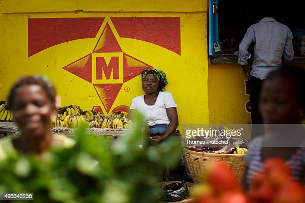 A market trader sitting at her market stall in a street market on September 29 2015 in Beira Mozambique