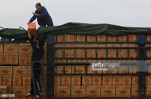 Market vendors unload boxes of oranges and tangerines at Xinfadi wholesale fruit market where retail customers remain reluctant to buy despite...