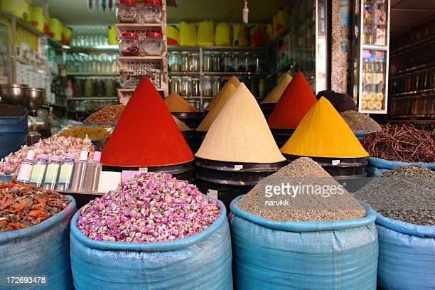 Market with Various Spices in Marrakesh