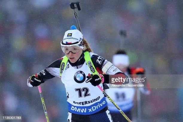 Marketa Davidova of Czech Republic competes at the IBU Biathlon World Championships Women 7.5km Sprint at Swedish National Biathlon Arena on March...