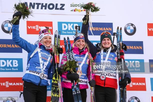 Marketa Davidova of Czech Republic takes 1st place, Kaisa Makarainen of Finland, Marte Olsbu Roeiseland of Norway takes 3rd place during the IBU...