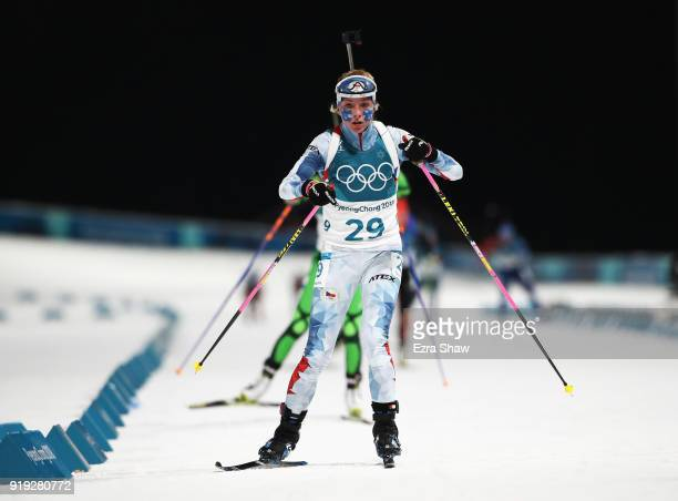 Marketa Davidova of the Czech Republic competes during the Women's 125km Mass Start Biathlon on day eight of the PyeongChang 2018 Winter Olympic...