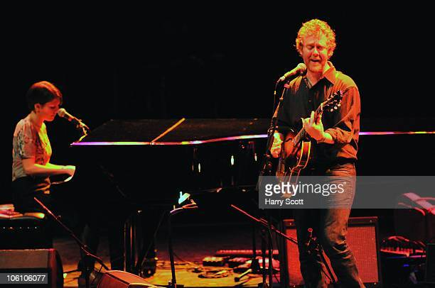 Marketa Irglova and Glen Hansard of Swell Season perform on stage at the Royal Festival Hall on October 26 2010 in London England