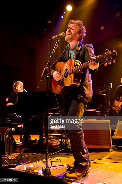 Marketa Irglova and Glen Hansard of The Swell Season perform on stage at Sala Apolo on February 27 2010 in Barcelona Spain