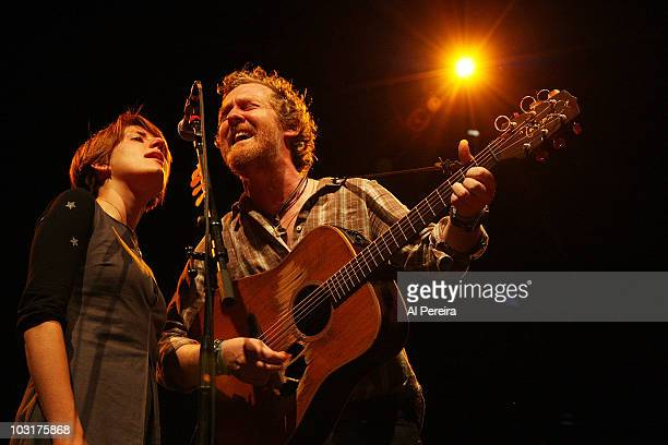 Marketa Irglova and Glen Hansard of The Swell Season perform when The Swell Season headlines at Prospect Park Bandshell on July 30 2010 in New York...