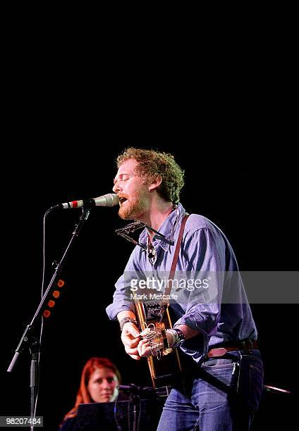 Marketa Irglova and Glen Hansard of The Swell Season performs on stage during Day 2 of Bluesfest 2010 at Tyagarah Tea Tree Farm on April 2 2010 in...