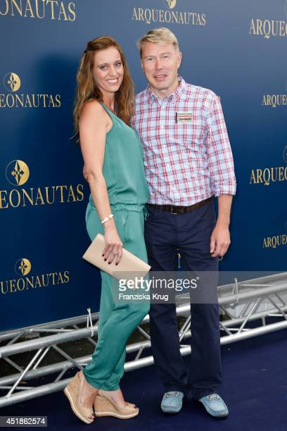 Marketa Remesova and Mika Haekkinen attend the Arqueonautas Presents Kevin Costner Music Meets Fashion at Spindler Klatt on July 08 2014 in Berlin...