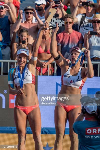 Marketa Slukova and Barbora Hermannova of Czech Republic show their trophy during the women's award ceremony on day four of the FIVB Beach Volleyball...