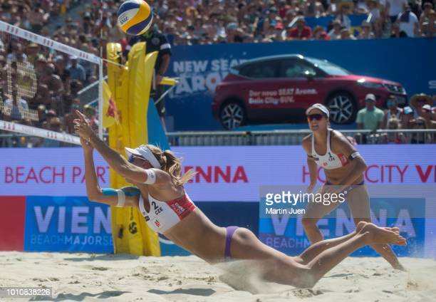 Marketa Slukova of Czech Republic competes during match in the womens semifinale between Barbora Hermannova of Czech Republic and Marketa Slukova of...