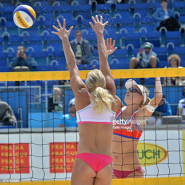 Marketa Slukova of team Czech competes against Taru Lahit of team Finland during day one of the FIVB Beach Volleyball World Tour 2015 on May 22 2015...