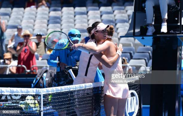 Marketa Vondrousova of Czech Republic and Caroline Garcia of France are seen during Women's single match of 2018 Australian Open at Melbourne Park...