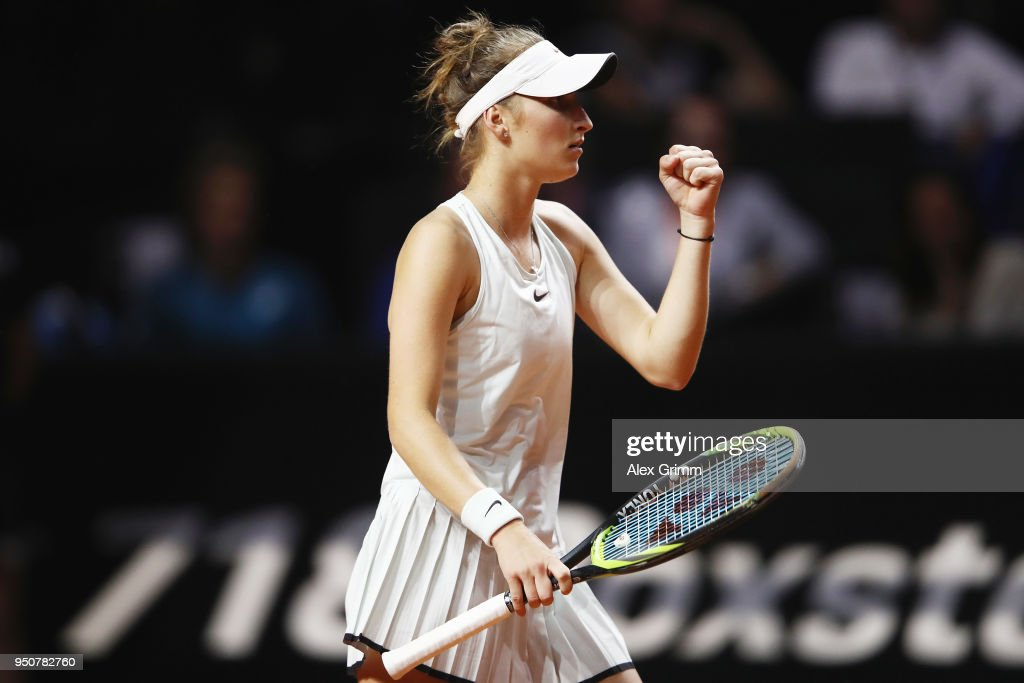 Marketa Vondrousova of Czech Republic celebrates after her match against Julia Goerges of Germany during day 2 of the Porsche Tennis Grand Prix at Porsche-Arena on April 24, 2018 in Stuttgart, Germany.
