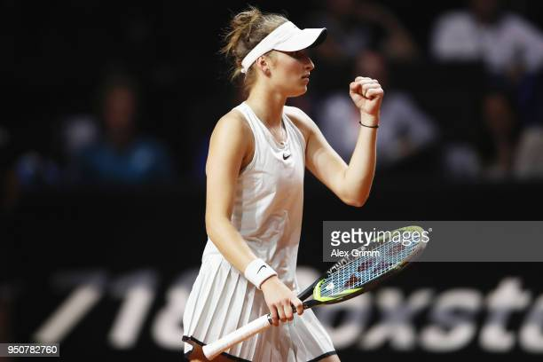 Marketa Vondrousova of Czech Republic celebrates after her match against Julia Goerges of Germany during day 2 of the Porsche Tennis Grand Prix at...