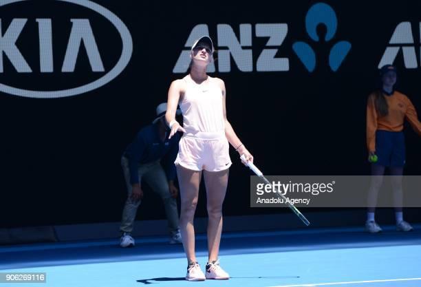 Marketa Vondrousova of Czech Republic in action against Caroline Garcia of France during Women's single match of 2018 Australian Open at Melbourne...