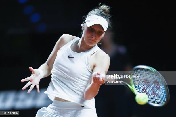 Marketa Vondrousova of Czech Republic plays a forehand to Elina Svitolina of Ukraine during day 4 of the Porsche Tennis Grand Prix at PorscheArena on...