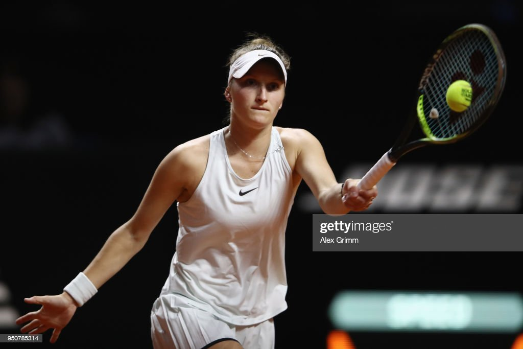 Marketa Vondrousova of Czech Republic plays a forehand to Julia Goerges of Germany during day 2 of the Porsche Tennis Grand Prix at Porsche-Arena on April 24, 2018 in Stuttgart, Germany.
