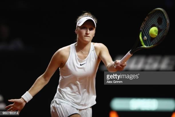 Marketa Vondrousova of Czech Republic plays a forehand to Julia Goerges of Germany during day 2 of the Porsche Tennis Grand Prix at PorscheArena on...