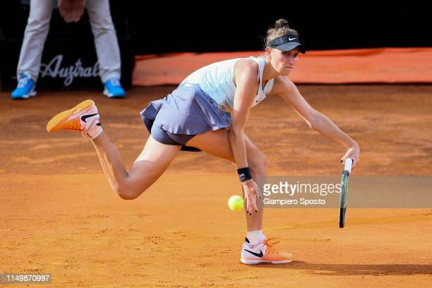 Marketa Vondrousova of Czech Republic plays against Johanna Konta of Great Britain in their Women's Single Quarterfinal Match during Day Six of the...
