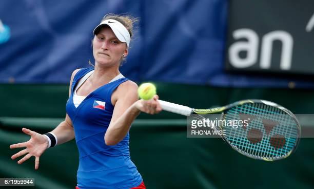 Marketa Vondrousova of Czech Republic reacts to winning her match against Lauren Davis of the USA during their semifinals Fed Cup match match in...