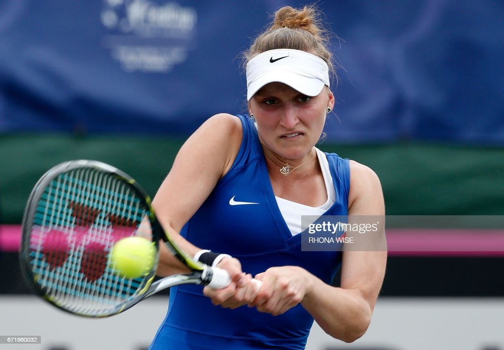 Marketa Vondrousova of Czech Republic returns the ball to Lauren Davis of the USA during their semi-finals Fed Cup match match in Tampa, Florida April 23, 2017. /