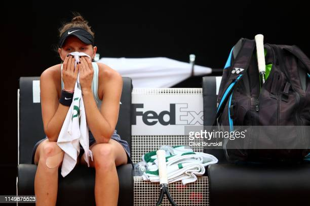 Marketa Vondrousova of Czech Republic shows her dejection against against Johanna Konta of Great Britain in their Women's Single Quarterfinal Match...