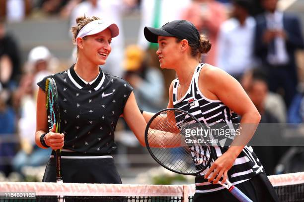 Marketa Vondrousova of The Czech Republic and Ashleigh Barty of Australia pose for a photo ahead of the ladies singles final during Day fourteen of...