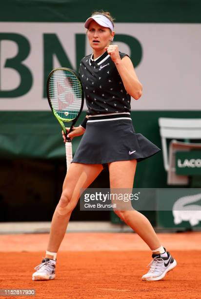Marketa Vondrousova of The Czech Republic celebrates during her ladies singles third round match against Carla Suarez Navarro of Spain during Day six...