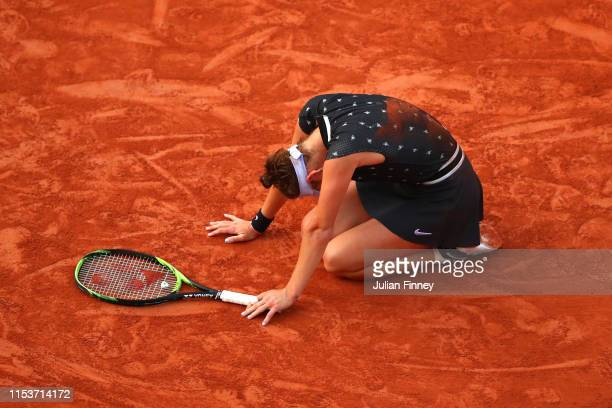 Marketa Vondrousova of The Czech Republic celebrates victory during her ladies singles quarterfinal match against Petra Martic of Croatia during Day...