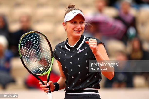 Marketa Vondrousova of The Czech Republic celebrates victory during her ladies singles semifinal match against Johanna Konta of Great Britain during...
