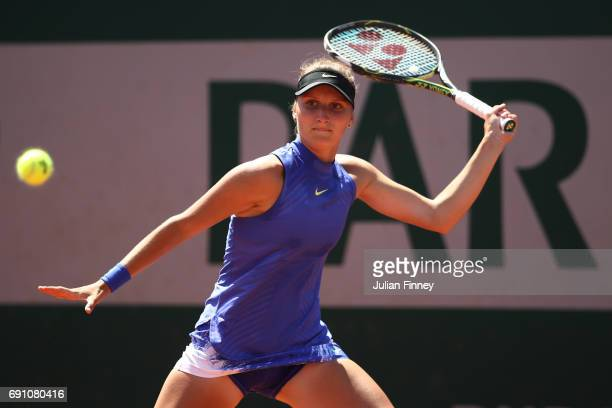 Marketa Vondrousova of the Czech Republic hits a forehand during the ladies singles second round match against Daria Kasatkina of Russia on day five...