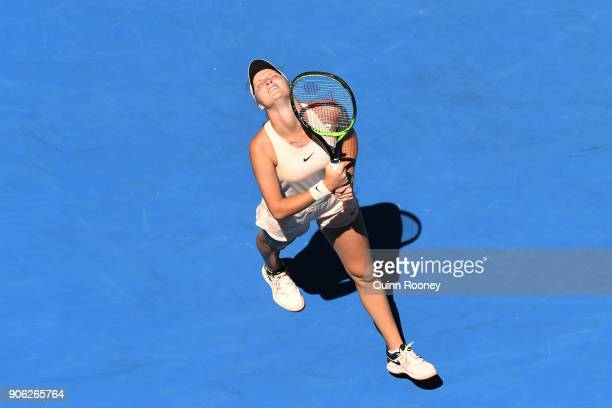 Marketa Vondrousova of the Czech Republic looks dejected in her second round match against Caroline Garcia of France on day four of the 2018...