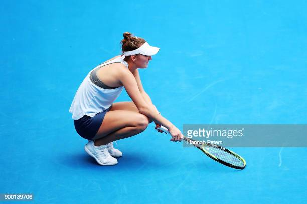 Marketa Vondrousova of the Czech Republic looks on during her first round match against Petra Martic of Croatia during day one of the ASB Women's...