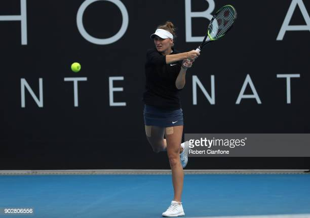 Marketa Vondrousova of the Czech Republic plays a backhand during her singles match againsts Donna Vekic of Croatia during the 2018 Hobart...