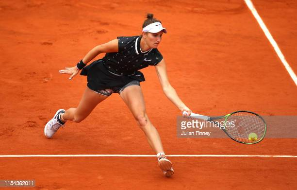 Marketa Vondrousova of The Czech Republic plays a forehand during her ladies singles semifinal match against Johanna Konta of Great Britain during...