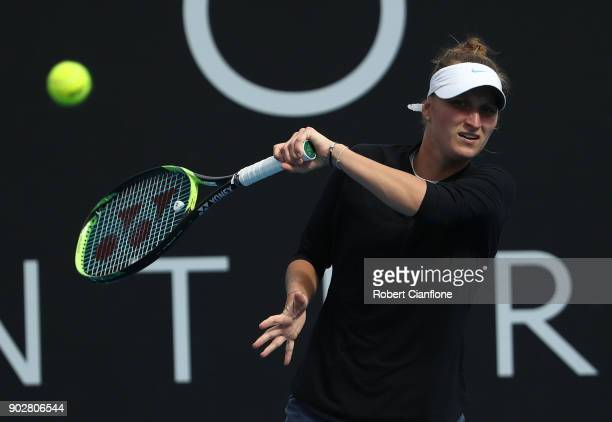 Marketa Vondrousova of the Czech Republic plays a forehand during her singles match againsts Donna Vekic of Croatia during the 2018 Hobart...