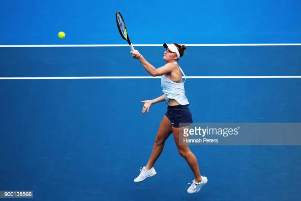 Marketa Vondrousova of the Czech Republic plays a forehand in her first round match against Petra Martic of Croatia during day one of the ASB Women's...