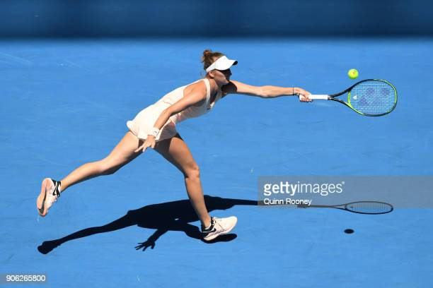 Marketa Vondrousova of the Czech Republic plays a forehand in her second round match against Caroline Garcia of France on day four of the 2018...