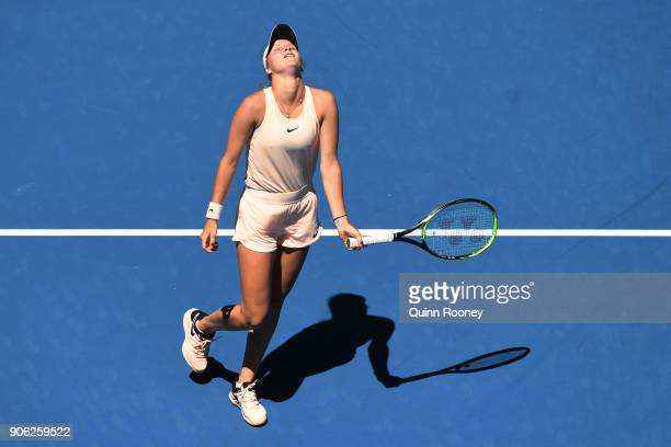 Marketa Vondrousova of the Czech Republic reacts in her second round match against Caroline Garcia of France on day four of the 2018 Australian Open...