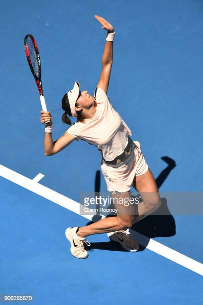 Marketa Vondrousova of the Czech Republic serves in her second round match against Caroline Garcia of France on day four of the 2018 Australian Open...
