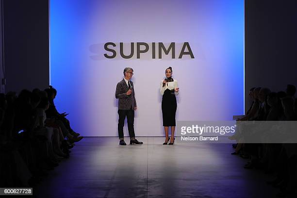 Marketing and Promotions at Supima Buxton S Midyette and Olivia Culpo speak during the Supima Design Competition 2016 during New York Fashion Week...