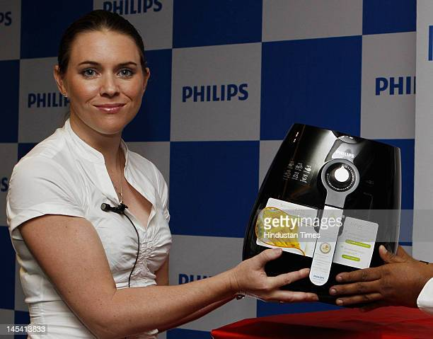 Marketing Director Domestic Appliances of Philips India Genevieve Tearle launches the Philips Air Fryer at The Lalit Hotel on May 29 2012 in New...