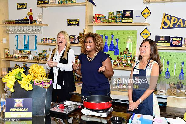 Marketing Director Grocery Products Division at Hormel Foods Nicole Behne Sunny Anderson and chef Katie Chin attend the SPAMERICAN Tour KickOff...