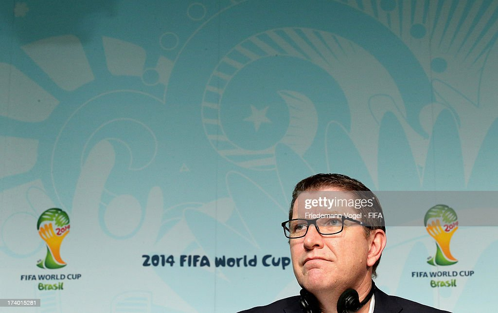 Marketing Director Thierry Weil attends the media briefing to announce the ticketing strategy for the 2014 FIFA World Cup at the Hotel Renaissance on July 19, 2013 in Sao Paulo, Brazil.