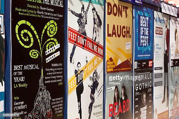 marketing posters at edinburgh's fringe festival. - edinburgh fringe stock photos and pictures