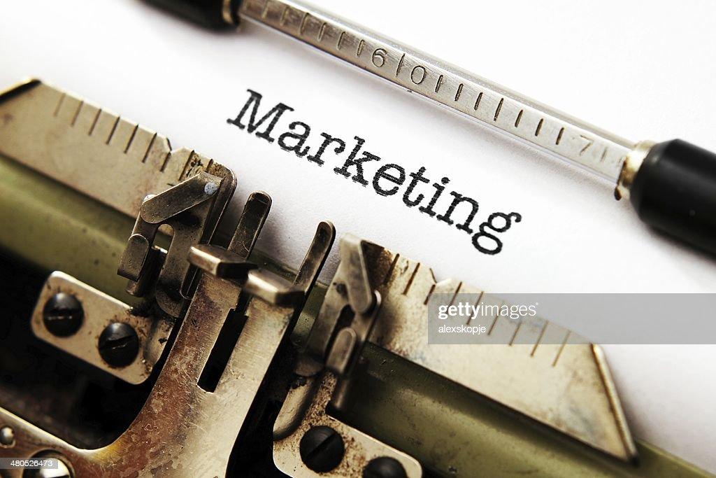 Marketing text on typewriter : Stock Photo