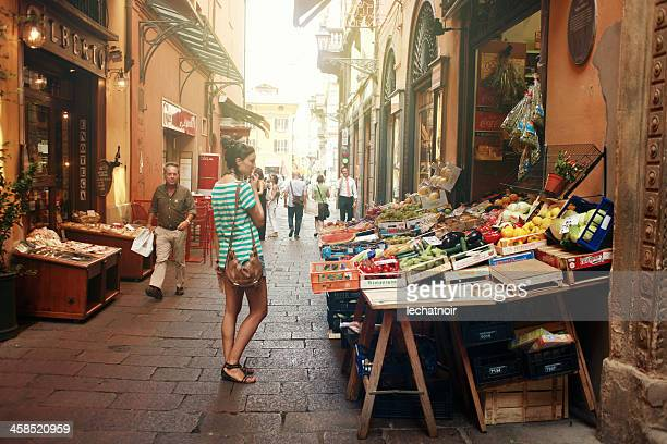 Marketplace in the center of Bologna, Italy
