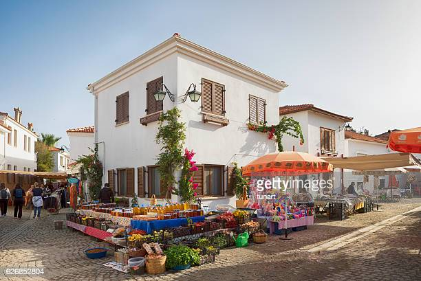 marketplace of sigacik, izmir, turkey - aegean turkey stock pictures, royalty-free photos & images